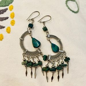 Boho Turquoise and Silver Earrings